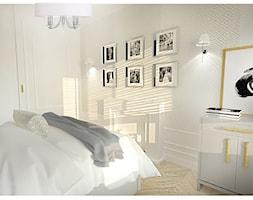 Projekt apartamentu 55 m2 w Warszawie - Mała szara sypialnia małżeńska, styl nowojorski - zdjęcie od Interior Maker wnętrza