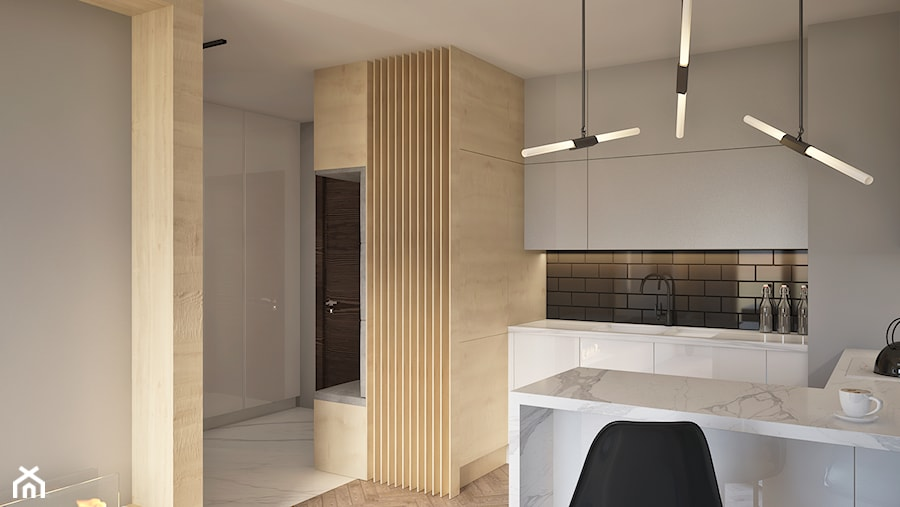 Aneks kuchenny w Mennica Residence - zdjęcie od Beautiful Minds Projektowanie Wnętrz