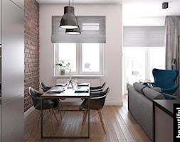 Apartament w sercu Warszawy - Mały biały brązowy salon z kuchnią z jadalnią, styl nowoczesny - zdjęcie od Beautiful Minds Projektowanie Wnętrz