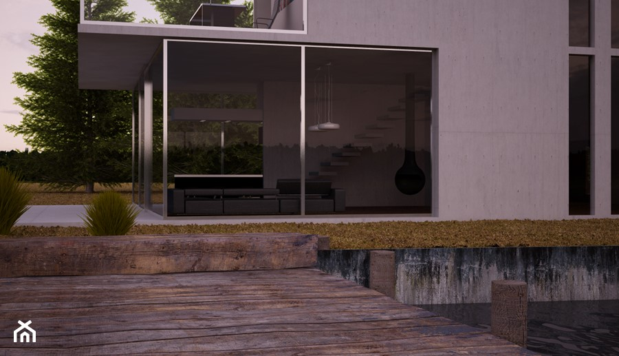 Minimalistyczny salon za taflą szkła - zdjęcie od Beautiful Minds Projektowanie Wnętrz