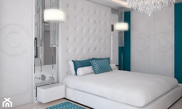 nowoczesna sypialnia, białe łóżko, biały-pikowany zagłówek, turkusowe poduszki