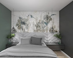 Projekt apartamentu w Warszawie - Mała szara czarna sypialnia małżeńska, styl eklektyczny - zdjęcie od interior art studio