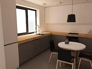 Dom w Ząbkach - Średnia otwarta biała kuchnia w kształcie litery l w aneksie z oknem, styl nowoczesny - zdjęcie od mint&brisk