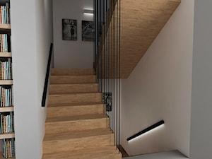 Dom w Ząbkach - Średnie wąskie schody dwubiegowe drewniane, styl nowoczesny - zdjęcie od mint&brisk
