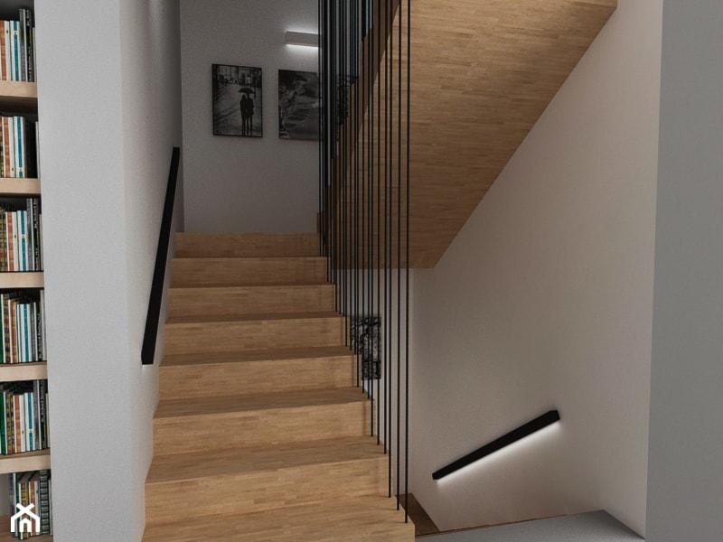 Dom w Ząbkach - Średnie wąskie schody dwubiegowe drewniane, styl nowoczesny - zdjęcie od ESTU architektura wnętrz