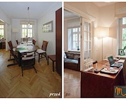 SASKA KĘPA - Małe beżowe biuro pracownia kącik do pracy w pokoju, styl eklektyczny - zdjęcie od studio m Katarzyna Kosieradzka