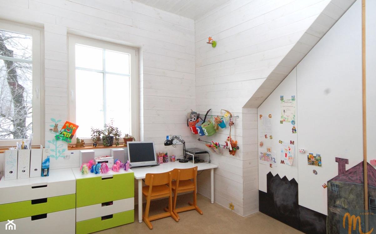 białe panele ścienne, białe biurko, drewniane krzesła, biało-zielona komoda