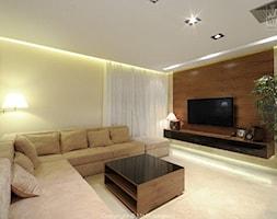 nr 6 - Duży żółty salon, styl nowoczesny - zdjęcie od M+M wnętrza