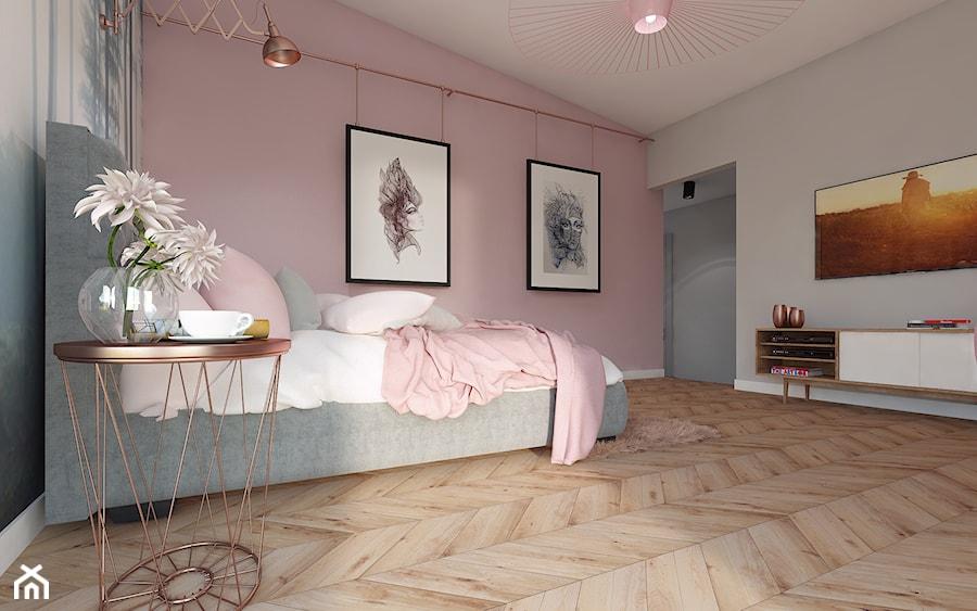 Pudrowa sypialnia - Duża szara różowa sypialnia małżeńska ...