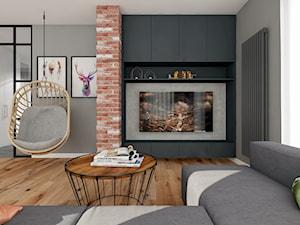 Projekt Mieszkania w stylu nowoczesno-industrialnym - Duży szary salon, styl industrialny - zdjęcie od PIKA DESIGN