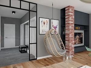 Projekt Mieszkania w stylu nowoczesno-industrialnym - Średni szary salon z jadalnią, styl industrialny - zdjęcie od PIKA DESIGN