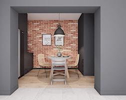 Mała jadalnia - Mała otwarta czarna jadalnia w kuchni, styl industrialny - zdjęcie od PIKA DESIGN