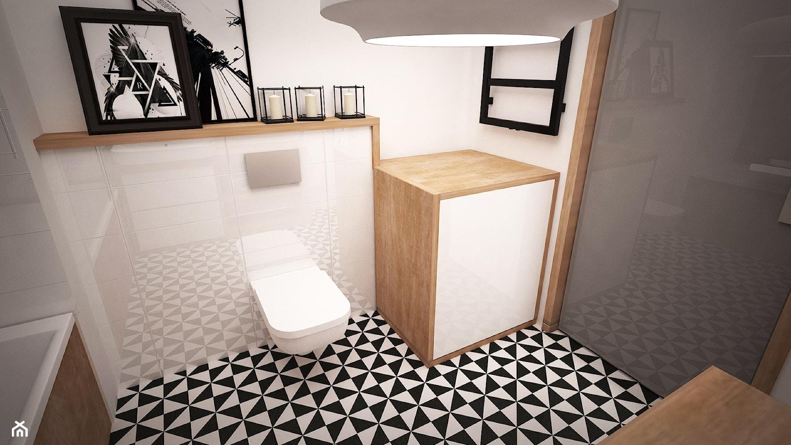 ŁAZIENKA ŻOLIBORZ ARTYSTYCZNY - Mała łazienka w bloku bez okna, styl eklektyczny - zdjęcie od Ada Wrońska - Homebook