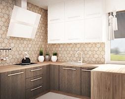 KUCHNIA - Średnia otwarta kuchnia w kształcie litery l w kształcie litery u w aneksie z oknem, styl eklektyczny - zdjęcie od Ada Wrońska