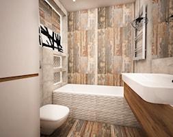 LOKUM INVEST - Mała beżowa brązowa łazienka w bloku bez okna, styl rustykalny - zdjęcie od Ada Wrońska