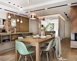 apartament nad Wisłą w Krakowie - Duża otwarta beżowa jadalnia w salonie, styl skandynawski - zdjęcie od MaNaZa