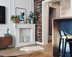 Mieszkanie 60m2 - Mały biały salon z jadalnią, styl skandynawski - zdjęcie od MaNaZa
