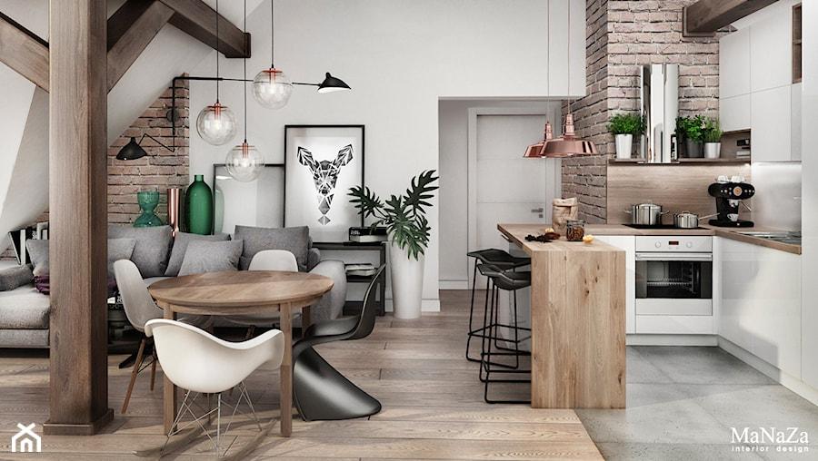 Aranżacje wnętrz - Salon: mieszkanie na poddaszu - Mały biały salon z kuchnią z jadalnią, styl skandynawski - MaNaZa. Przeglądaj, dodawaj i zapisuj najlepsze zdjęcia, pomysły i inspiracje designerskie. W bazie mamy już prawie milion fotografii!