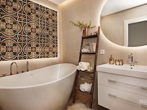 apartament nad Wisłą w Krakowie - Mała beżowa łazienka w bloku w domu jednorodzinnym bez okna, styl rustykalny - zdjęcie od MaNaZa