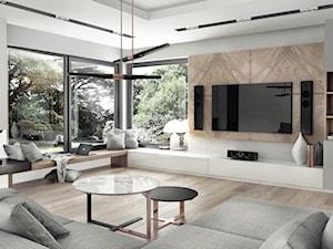 dom pod Krakowem 250m2 - Duży szary salon, styl nowoczesny - zdjęcie od MaNaZa