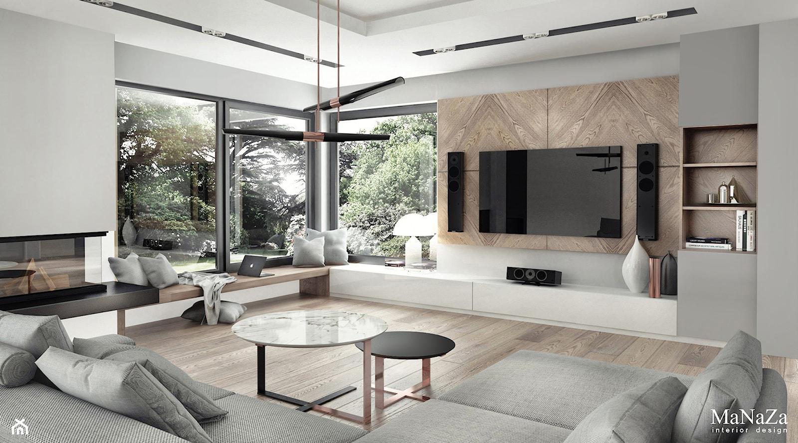 dom pod Krakowem 250m2 - Duży szary salon, styl nowoczesny - zdjęcie od MaNaZa - Homebook