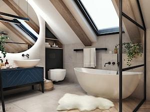 Łazienka na poddaszu - Średnia biała beżowa łazienka na poddaszu w domu jednorodzinnym z oknem, styl skandynawski - zdjęcie od MaNaZa