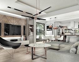 dom pod Krakowem 250m2 - Duży szary salon z kuchnią z jadalnią, styl nowoczesny - zdjęcie od MaNaZa - Homebook
