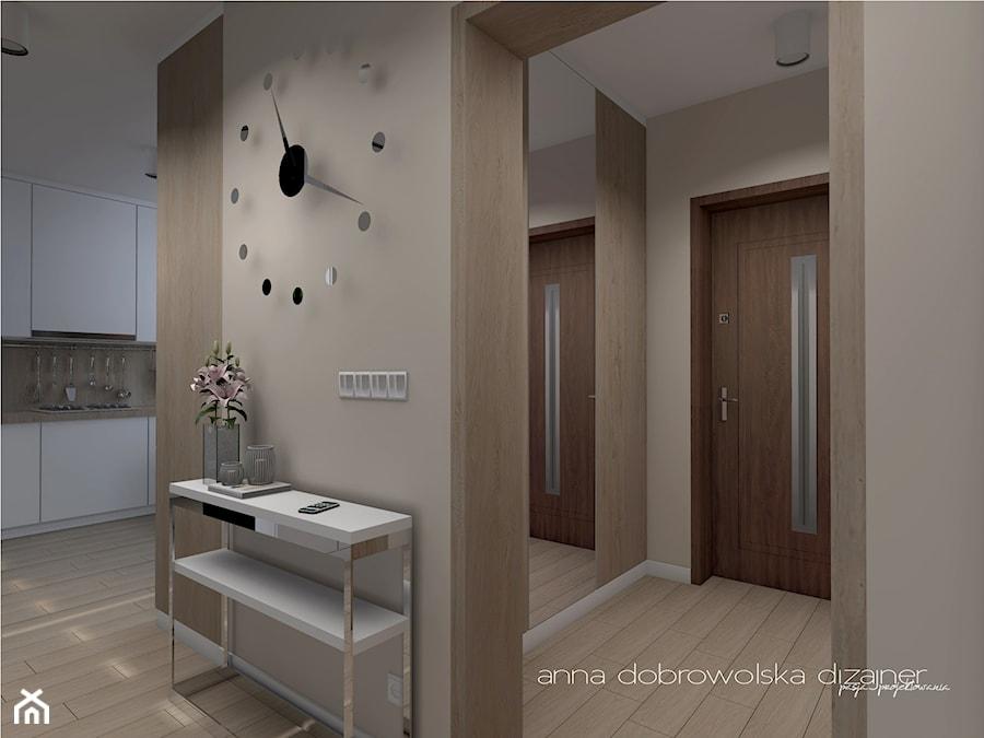 Wnętrze domu szeregowego - Średni beżowy hol / przedpokój, styl nowoczesny - zdjęcie od Anna Dobrowolska dizajner