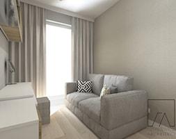 MIESZKANIE // WARSZAWA // BEMOWO - Małe szare biuro domowe kącik do pracy w pokoju, styl nowoczesny - zdjęcie od SZTYBLEWICZ_architekci