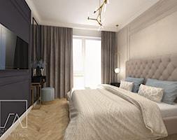MIESZKANIE POZNAŃ / MARCELIN - Mała szara czarna sypialnia małżeńska, styl glamour - zdjęcie od SZTYBLEWICZ_architekci - Homebook
