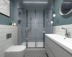 MIESZKANIA LOFT / WERSJA 2 - Mała szara zielona łazienka w bloku w domu jednorodzinnym bez okna, styl industrialny - zdjęcie od SZTYBLEWICZ_architekci