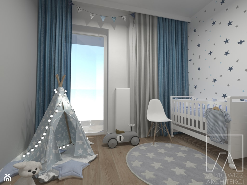 POKOIK DZIECKA // POZNAŃ MALTA - Mały szary pokój dziecka dla chłopca dla dziewczynki dla niemowlaka, styl skandynawski - zdjęcie od SZTYBLEWICZ_architekci - Homebook