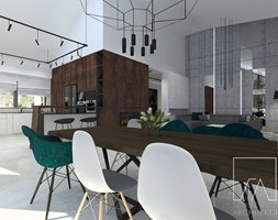 DOM // PNIEWY - Duży szary biały salon z kuchnią z jadalnią, styl nowoczesny - zdjęcie od SZTYBLEWICZ_architekci - Homebook