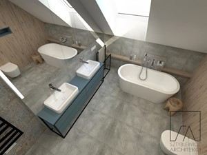 DOM // GRUSZCZYN - Średnia biała beżowa szara łazienka na poddaszu w bloku w domu jednorodzinnym z oknem, styl industrialny - zdjęcie od SZTYBLEWICZ_architekci