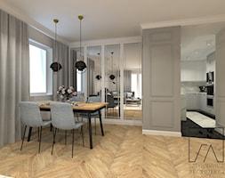 MIESZKANIE POZNAŃ / MARCELIN - Duży szary salon z kuchnią z jadalnią, styl glamour - zdjęcie od SZTYBLEWICZ_architekci - Homebook