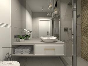 DOM POZNAŃ // NOWOCZESNE GLAMOUR - Średnia łazienka w bloku w domu jednorodzinnym bez okna, styl glamour - zdjęcie od SZTYBLEWICZ_architekci