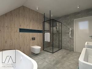 DOM // GRUSZCZYN - Duża łazienka na poddaszu w domu jednorodzinnym jako salon kąpielowy bez okna, styl industrialny - zdjęcie od SZTYBLEWICZ_architekci