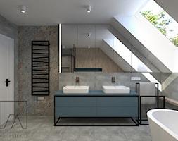 DOM // GRUSZCZYN - Średnia łazienka na poddaszu w domu jednorodzinnym z oknem, styl industrialny - zdjęcie od SZTYBLEWICZ_architekci