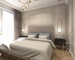 MIESZKANIE POZNAŃ / MARCELIN - Mała szara sypialnia małżeńska z balkonem / tarasem, styl glamour - zdjęcie od SZTYBLEWICZ_architekci - Homebook