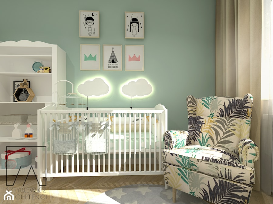 POKÓJ DZIECKA - Mały szary zielony pokój dziecka dla chłopca dla dziewczynki dla niemowlaka, styl skandynawski - zdjęcie od SZTYBLEWICZ_architekci