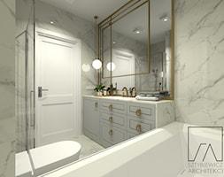 MIESZKANIE POZNAŃ / MARCELIN - Mała szara łazienka w bloku w domu jednorodzinnym bez okna, styl glamour - zdjęcie od SZTYBLEWICZ_architekci - Homebook