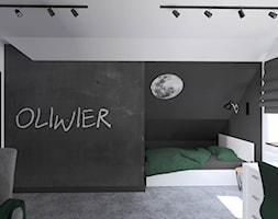Rezydencja w Nowym Mieście. 2019 - Średni biały czarny pokój dziecka dla chłopca dla dziewczynki dla ucznia dla nastolatka, styl industrialny - zdjęcie od ap. studio architektoniczne Aurelia Palczewska-Dreszler