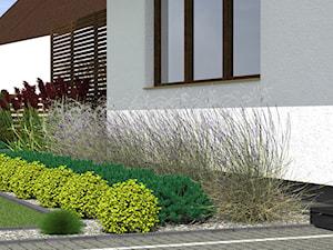 Ogród k. Ostródy - Średni ogród przed domem, styl nowoczesny - zdjęcie od ap. studio architektoniczne Aurelia Palczewska-Dreszler