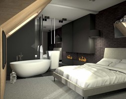 Średnia kolorowa sypialnia małżeńska na poddaszu, styl nowoczesny - zdjęcie od POLAK STUDIO