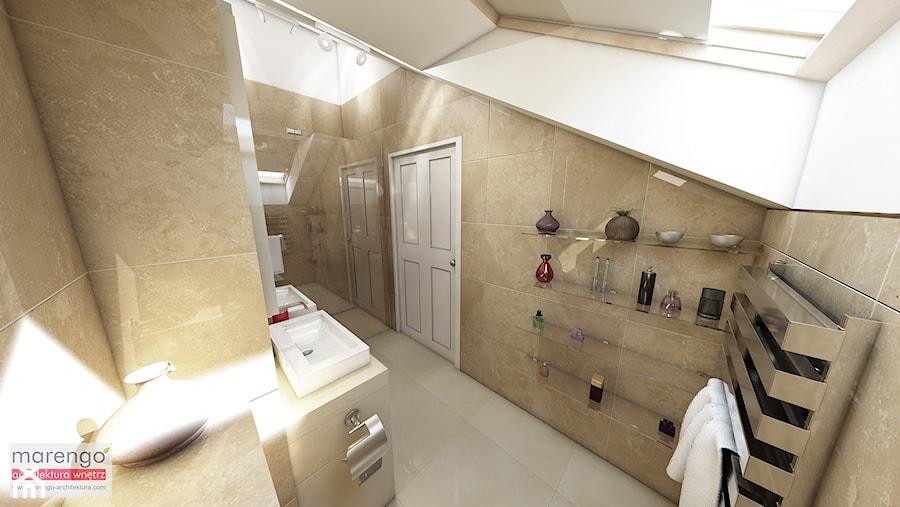 Mieszkanie na poddaszu w kamienicy Kraków Stare Miasto - Średnia biała beżowa łazienka na poddaszu w domu jednorodzinnym, styl klasyczny - zdjęcie od marengo-architektura