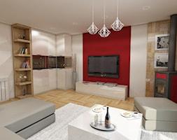 Dom w Rudniku pod Krakowem - Średni biały czerwony salon z bibiloteczką z barkiem, styl nowoczesny - zdjęcie od marengo-architektura