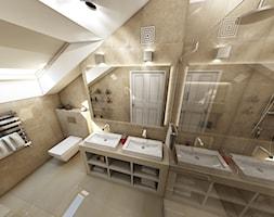 Mieszkanie na poddaszu w kamienicy Kraków Stare Miasto - Średnia biała beżowa łazienka na poddaszu w domu jednorodzinnym bez okna, styl klasyczny - zdjęcie od marengo-architektura