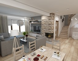 Nowoczesny dom pod Myślenicami - Średnia otwarta beżowa brązowa szara jadalnia w salonie, styl nowoczesny - zdjęcie od marengo-architektura