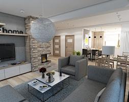Nowoczesny dom pod Myślenicami - Duży salon z jadalnią, styl nowoczesny - zdjęcie od marengo-architektura