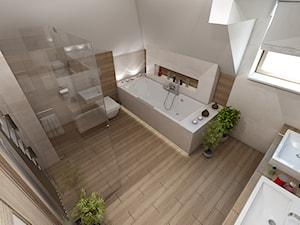 Nowoczesny dom pod Myślenicami - Duża biała łazienka w domu jednorodzinnym jako salon kąpielowy z oknem, styl skandynawski - zdjęcie od marengo-architektura